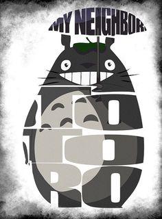Totoro Print from Anime My Neighbor Totoro - Minimalist Illustration Typography Art Print & Poster