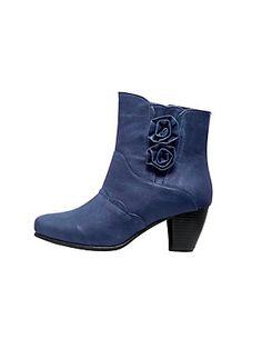 Bottines bleues à détails fleurs chic