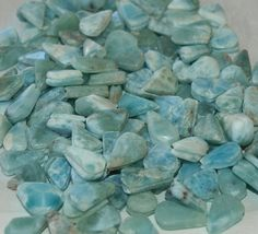 12 Larimar grooved cabochons beads small pendants by MyBeachStore
