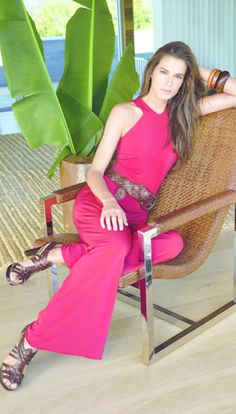 Lauren Ralph Lauren New Arrivals: A bold red jumpsuit paired with statement accessories for the perfect spring-style update