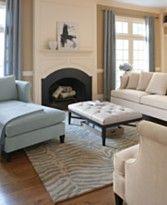 blue chaise with cream sofa