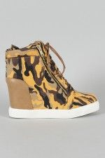 Shoe Republic Yona Camouflage Canvas Zipper Lace Up Wedge Bootie