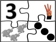3 Numbers Preschool, Learning Numbers, Preschool Classroom, Kindergarten Math, Maths Puzzles, Math Worksheets, Counting Activities, Preschool Activities, Puzzles Numeros
