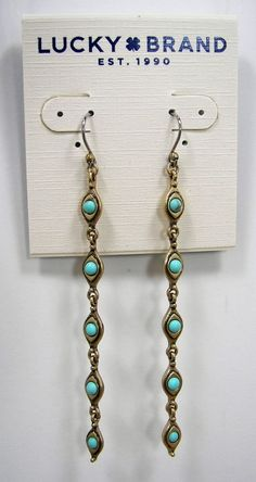 Lucky Brand Semi Precious Turquoise Stone Gold Tone Linear Earrings MSRP $35...only $27.99 with free shipping! #LuckyBrand #Linear