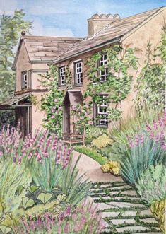 Beatrix Potter Illustrations, Beatrice Potter, Peter Rabbit And Friends, Garden Illustration, Conte, Watercolor Landscape, Land Scape, Illustrators, Drawings