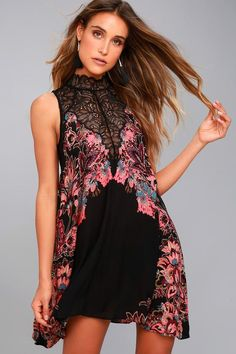 FREE PEOPLE MARSHA BLACK PRINT LACE SLIP DRESS 07cbf729d