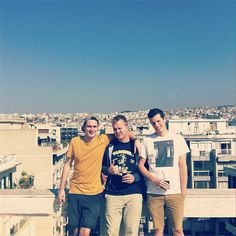 Poldoore and crew taking in our rooftop view, plus some generous October Greek sun. #poldoore #biscuit #thessaloniki
