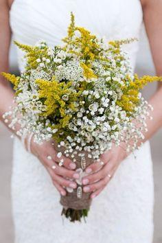 Goldenrod baby breath bouquet