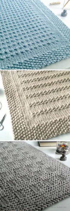 Three easy to knit chunky blanket patterns by Fifty Four Ten Studio. All easy to knit with super bulky yarn. Top: Third Street Blanket Middle: Stones in the Road Bottom: Westport Blanket Instructions for 5 sizes: Baby blanket, Crib blanket, Medium throw, Large Throw, XL Afghan