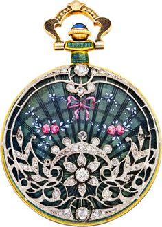 Swiss Gold Enamel and Diamond Pendant Watch, ca. 1910, Z Z