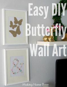 Easy Silhouette Project: DIY Butterfly Wall Art #springdecor www.makinghomebase.com