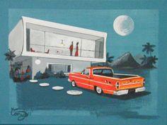 Love this artisti! Retro Illustration, Mid Century Art, House Art, Car Ford, Mid Century Modern Design, Pretty Pictures, Airplanes, Mid-century Modern, Pencil