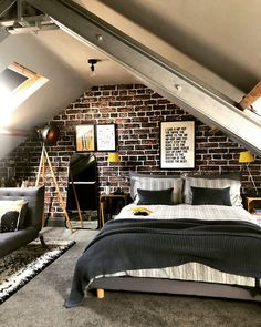 65 Charming Rustic Bedroom Ideas and Designs Here we have an interesting rustic decor design Attic Bedroom Small, Attic Bedroom Designs, Attic Bedrooms, Bedroom Ideas, Attic Bedroom Decor, Bedroom Interiors, Extra Bedroom, Attic Bathroom, Decor Room