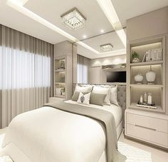 36 Awesome Modern Small Bedroom Design And Decor Ideas Fitted Bedroom Furniture, Fitted Bedrooms, Bedroom Decor, Guest Bedrooms, Bedroom Wall, Small Bedroom Storage, Small Bedroom Designs, Modern Master Bedroom, Suites