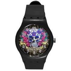 Day of the Dead Swatch like watch by ShayneoftheDead on Etsy, $28.00