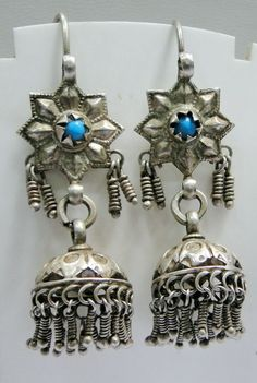 Vintage silver earrings ethnic tribal old silver long dangles jewelry-11191 picclick.com