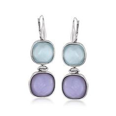 Bezel set mother-of-pearl earrings possess a colorful glow thanks to an overlay of smooth glass in deep pastels.