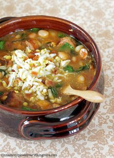 Spanish Chickpea and Chorizo Soup ... Ingredients include: chorizo sausage, onion, celery, garlic, sweet potatoes, chickpeas, chicken broth, diced tomatoes, spinach, salt.