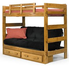 Woodcrest Heartland Futon Bunk Bed With Extra Loft Honey Pine Beds At Hayneedle College Prep And During Help Pinterest