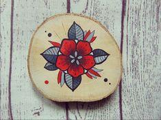 Ľúbim takéto old school kvietočky :) akryl na dreve Flower Power, Pot Holders, School, Wood, Creative, Illustration, Artwork, Painting, Work Of Art