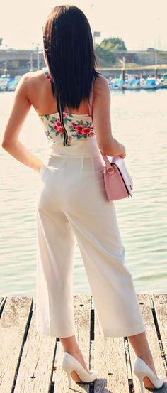 Front Row Shop White Women's Wide Ankle Trousers