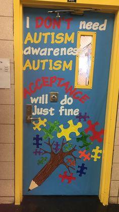 Autism Awareness Month door decor