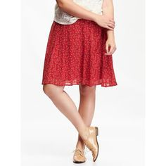 Old Navy Womens Plus Pleated Chiffon Skirts ($19) ❤ liked on Polyvore