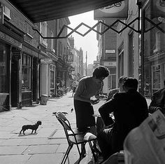 Shepherd Market, Mayfair, Greater London - 1961 with a miniature dachshund in view Vintage London, Old London, West London, London History, British History, Old Photos, Vintage Photos, 1960s Britain, London Street Photography