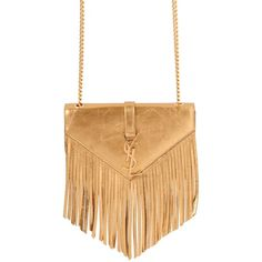 SAINT LAURENT Small Monogramme Laminated Leather Bag (6.060 BRL) ❤ liked on Polyvore featuring bags, handbags, shoulder bags, bolsas, purses, beige shoulder bag, fringe shoulder bag, beige leather purse, leather fringe handbag and fringe purse