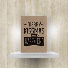 Kerstkaart 'Merry Kissmas and a Happy End'