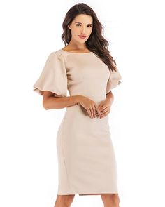 0cf287d794f Balloon Sleeve Scoop Neck Soild Color Going Out Work Pencil Dress