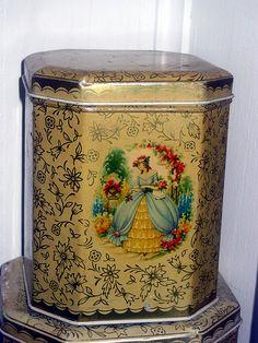 vintage tin , girl