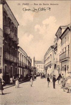 Faro : Rua do Santo Antonio Algarve, Old Postcards, Vintage Advertisements, Portuguese, Old Photos, Advertising, Street View, Lost, History