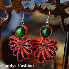 Traditional Soutache Red Ribbon Drop Earrings for women with Turquoise  Dark Green stone Chinese Handmade vintage jewelry-in Drop Earrings from Jewelry on Aliexpress.com | Alibaba Group