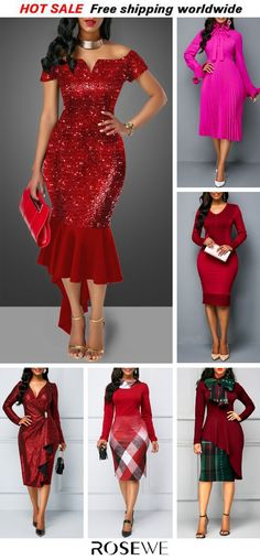Cheap red Dresses online for sale Mob Dresses, Women's Fashion Dresses, Simple Dresses, Casual Dresses, Beautiful Red Dresses, Holiday Party Dresses, Classy Dress, African Dress, Pretty Outfits