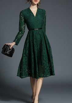 845f5fed88c Green Patchwork Lace Draped Belt V-neck Elegant Midi Dress on sale at low  prices