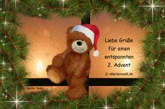 Liebe Grüße für einen entspannten 2. Advent. Animierte Grußkarte mit Djabbi Teddy zum zweiten Advent