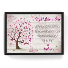 Custom song Lyric Breast cancer Canvas Wall Art - Frame / 24 x 16