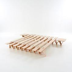 Folding convertible beech bed LIEG - Tojo Möbel