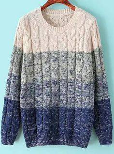 Blue Ombre Long Sleeve Cable Knit Sweater