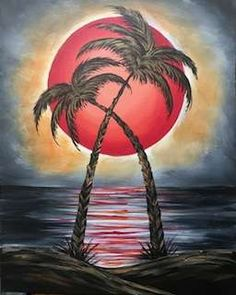 This gorgeous seascape painting is named Ethereal Ruby Moon, and we'd love for you to paint it with us at Pinot's Palette! #seascape #fullmoon #beachlife