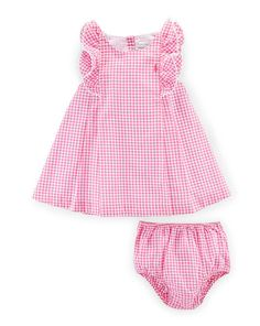 Sleeveless Double-Face Gingham Shift Dress w/ Bloomers, Pink, Size Months by Ralph Lauren Childrenswear at Neiman Marcus. Toddler Dress, Toddler Outfits, Baby Outfits, Kids Outfits, Baby Girl Skirts, Little Dresses, Little Girl Dresses, Baby Dress Design, Baby Dress Patterns
