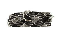 Black and White Braided Belt - Up To Size 48