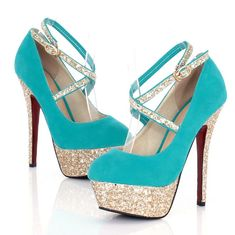 Turquoise Strappy High Heel Fashion Shoes. Kinda cute. Maybe not the straps