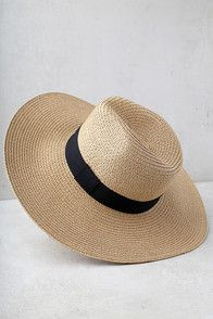 "Now is the time to make your getaway in the Adventure in Costa Rica Tan Straw Hat! A straw hat with a classic fedora shape and a vegan leather band with buckle. 3"" brim and 23"" interior circumference."
