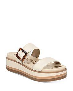 Sam Edelman Women's Augustine Platform Sandals In Modern Ivory Leather Platform Wedge Sandals, Wedge Heels, Shoes Sandals, Leather Sandals, Open Toe, Ivory, Sandals Online, Slip On, Wedges