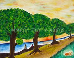 Sunset avenue original painting by DreamTreeWonders on Etsy