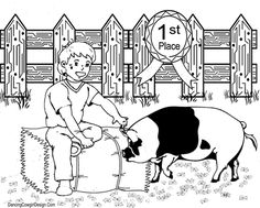boy with show pig county fair FFA 4-H coloring page free printabel