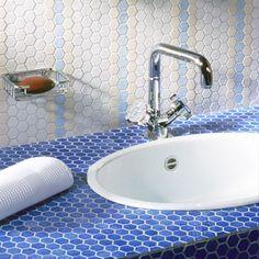 Salle de bain entièrement faite en Emaux de Briare. Collection Trio ...