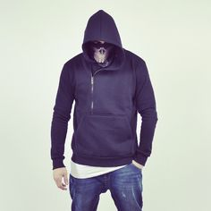 Full outfit available in ebanita.pl store. Fashionable dark blue sweatshirt with asymmetrical zipper #sweatshirt #men #original #darkblue